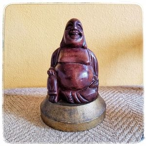 Other - vintage hand carved wood laughing buddha statue